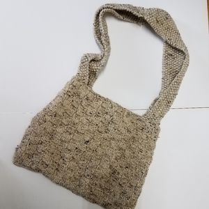 Hand Made Knitted Basket Weave Boho Bag